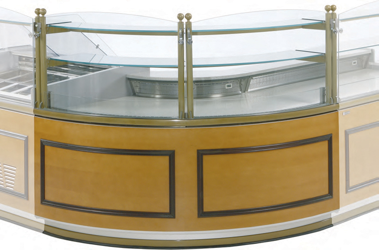 VE-90-P/N AA90 Open angle display case for pastry with storage or neutral