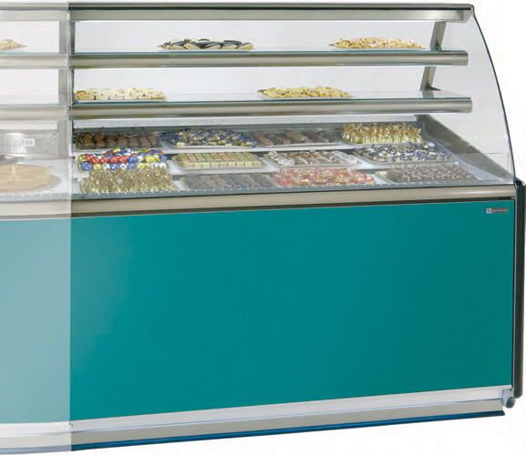 VR-90-B Chocolate display case straight glass with storage