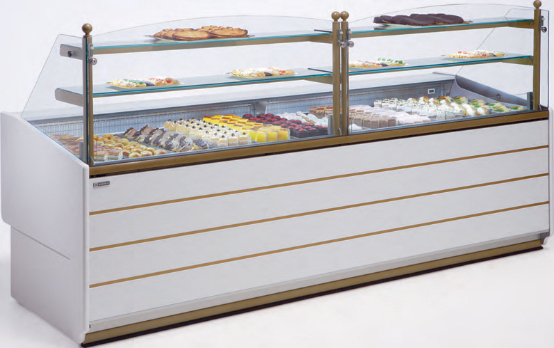 VR-90-P Pastry display case straight glass with storage