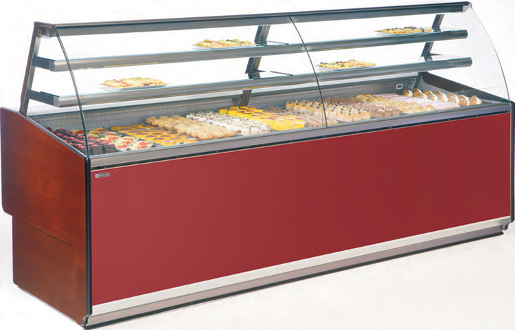 VE-90-P pastry dysplay case curved glass with refrigerated storage