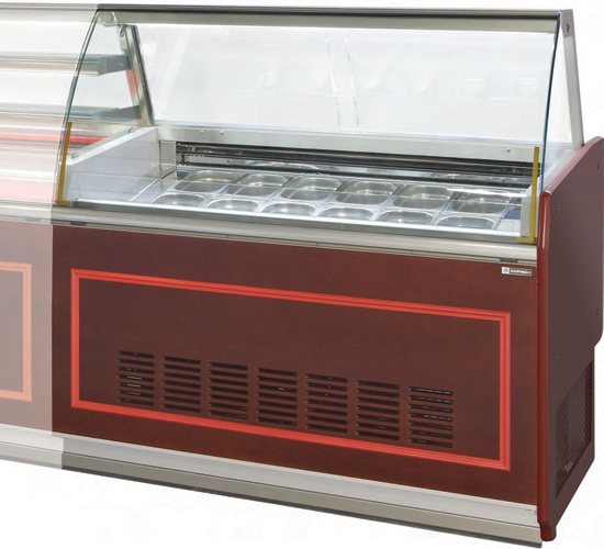 VE-90-H ice cream display case curved glass