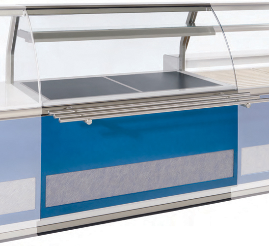VE-90-V heating plate display case curved glass