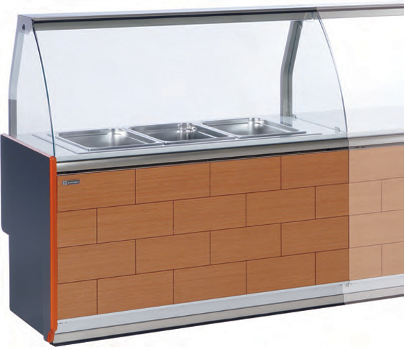 VE-90-BM bain-marie display case or VE-90-FE static cold curved glass
