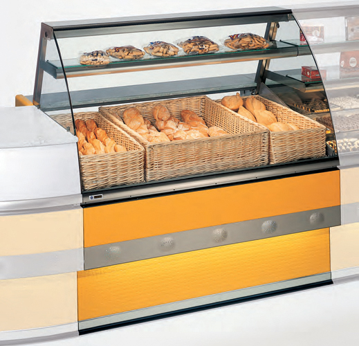 Neutral display case VFE-N for danish pastry curved glass