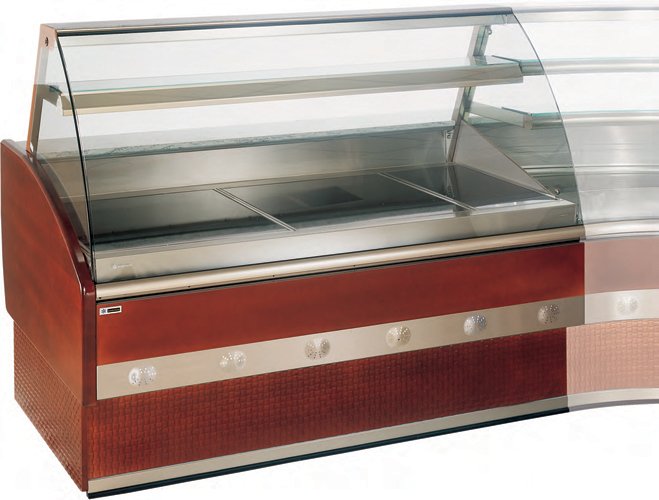VFE-V heating plate display case curved glass