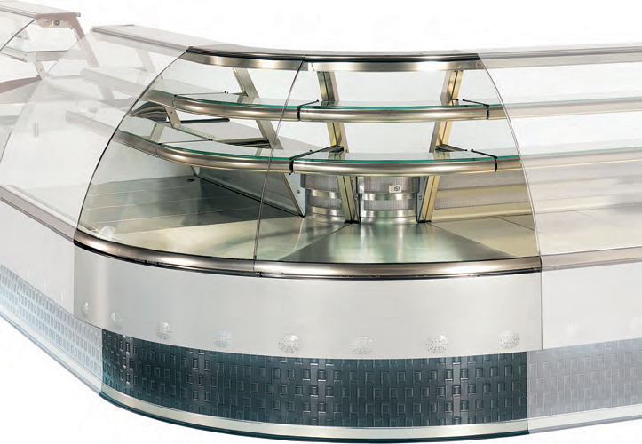 VFE-P/G/N AA Open angle display case for pastry, gastronomy or neutral curved glass